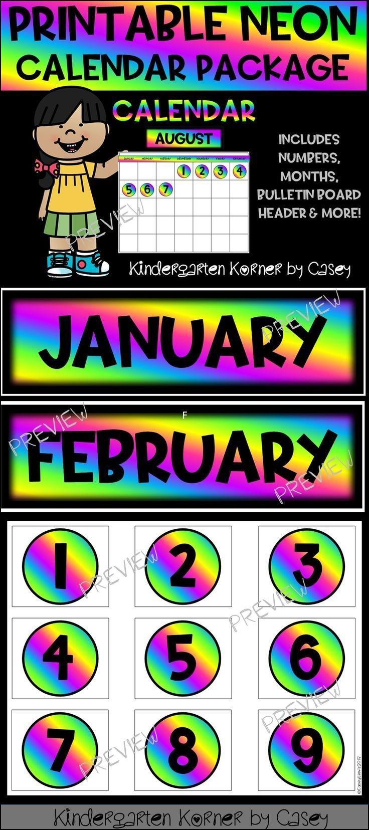 Neon Printable Calendar Set- Months Numbers 1 To 31 Bulletin