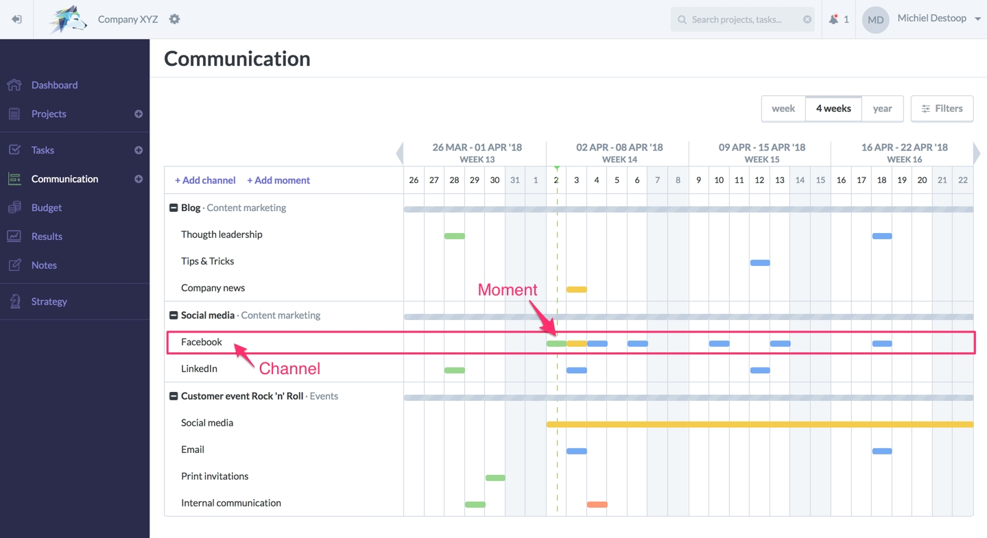 New In Communication: Weekly Calendar, Channels And Moments