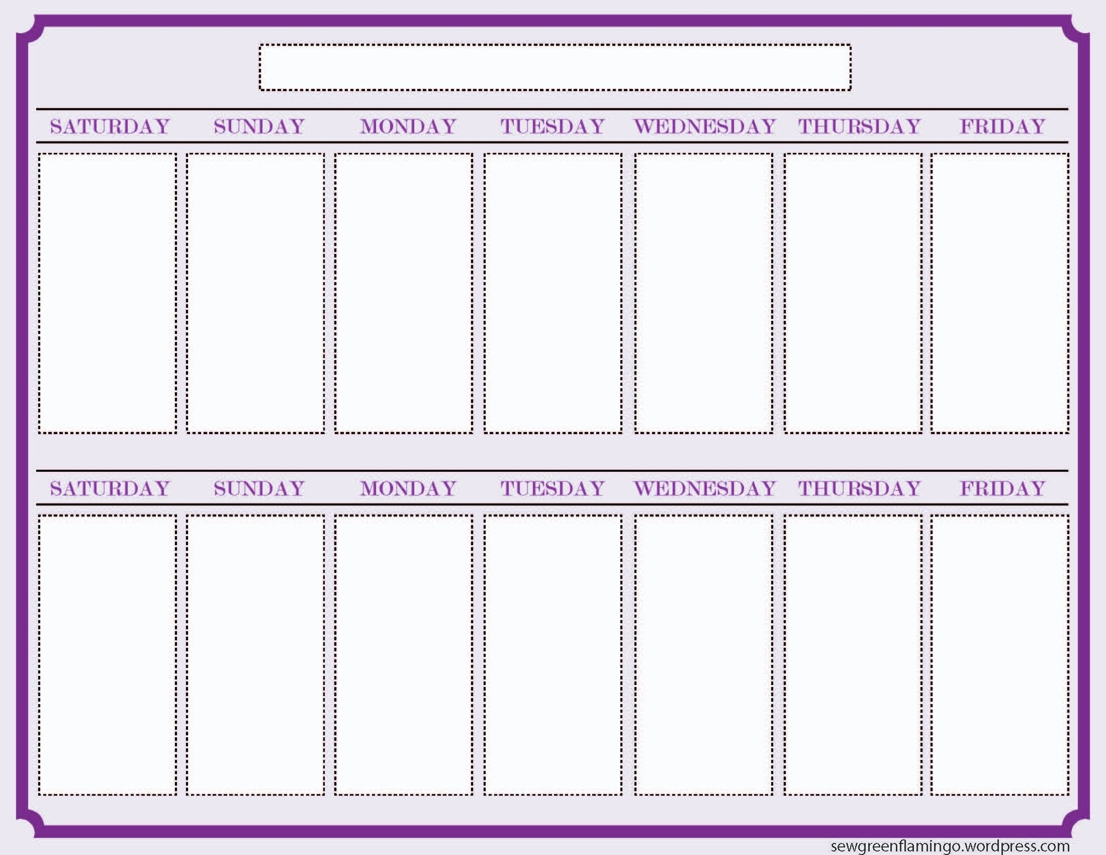 New Printable 2 Week Calendar   Blank Calendar Template