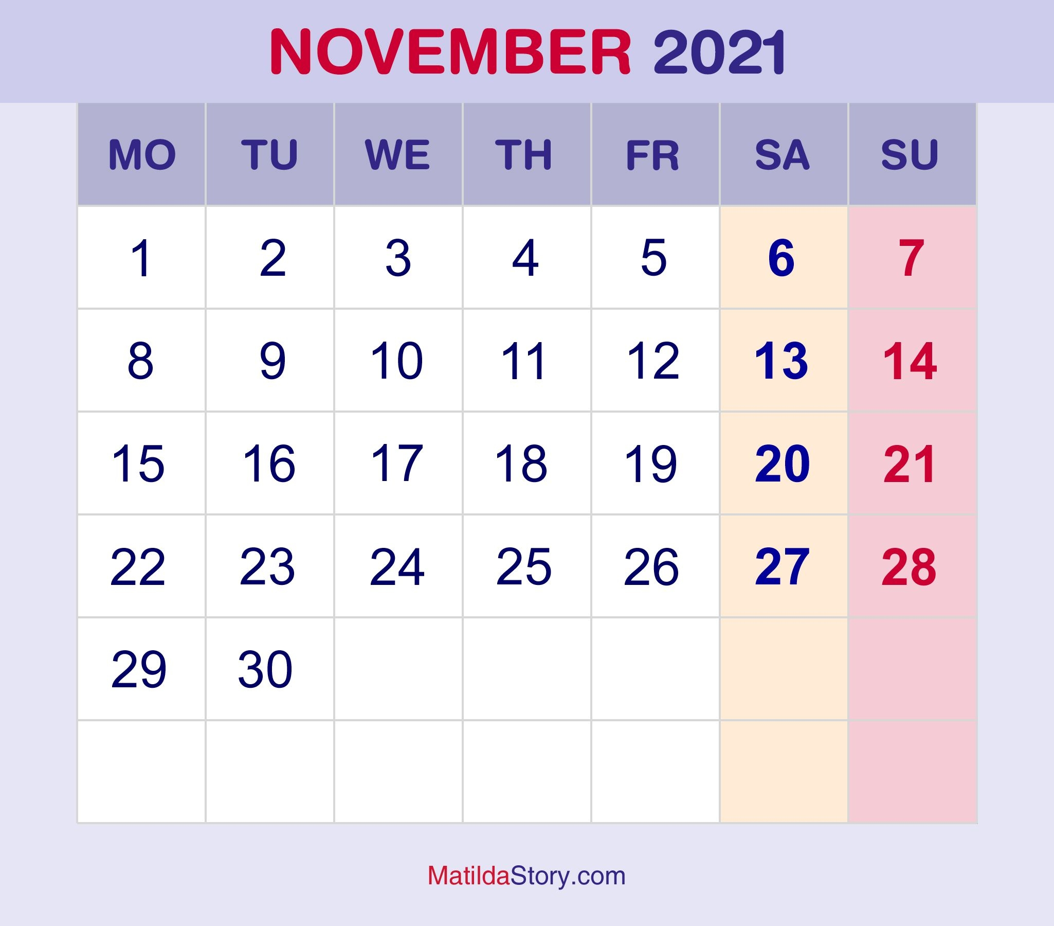 November 2021 Monthly Calendar, Monthly Planner, Printable