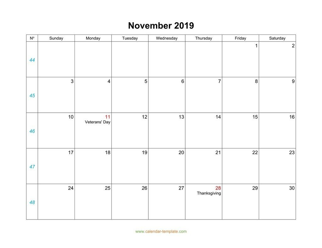 November Calendar 2019 Blank Template