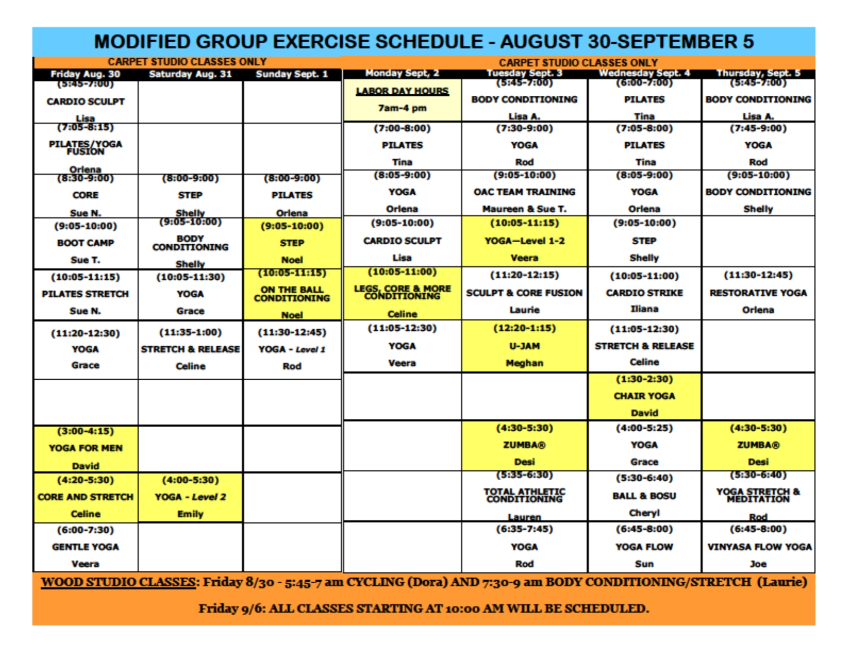Oakwood Athletic Club - Calendar Event - Modified Group Ex