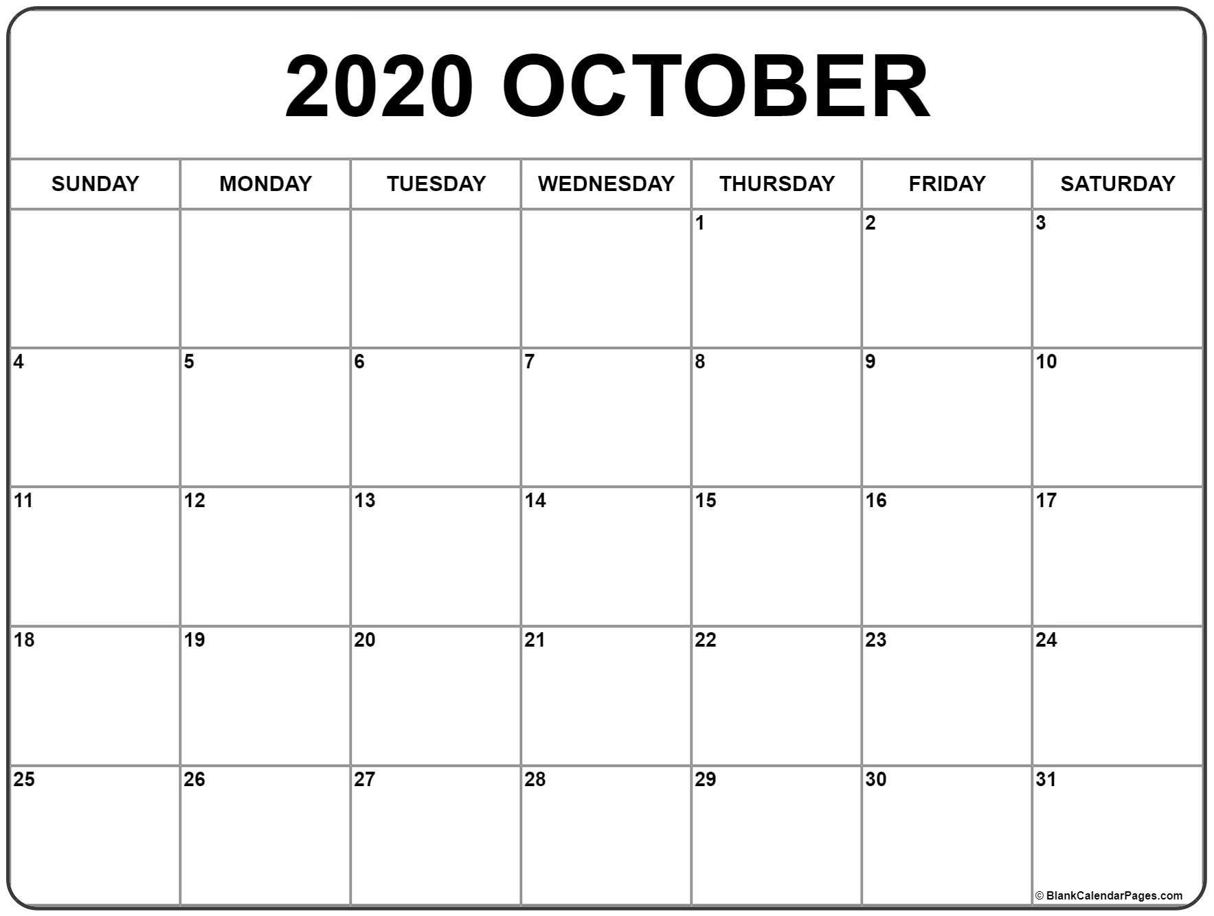 October 2020 Calendar   Free Printable Monthly Calendars