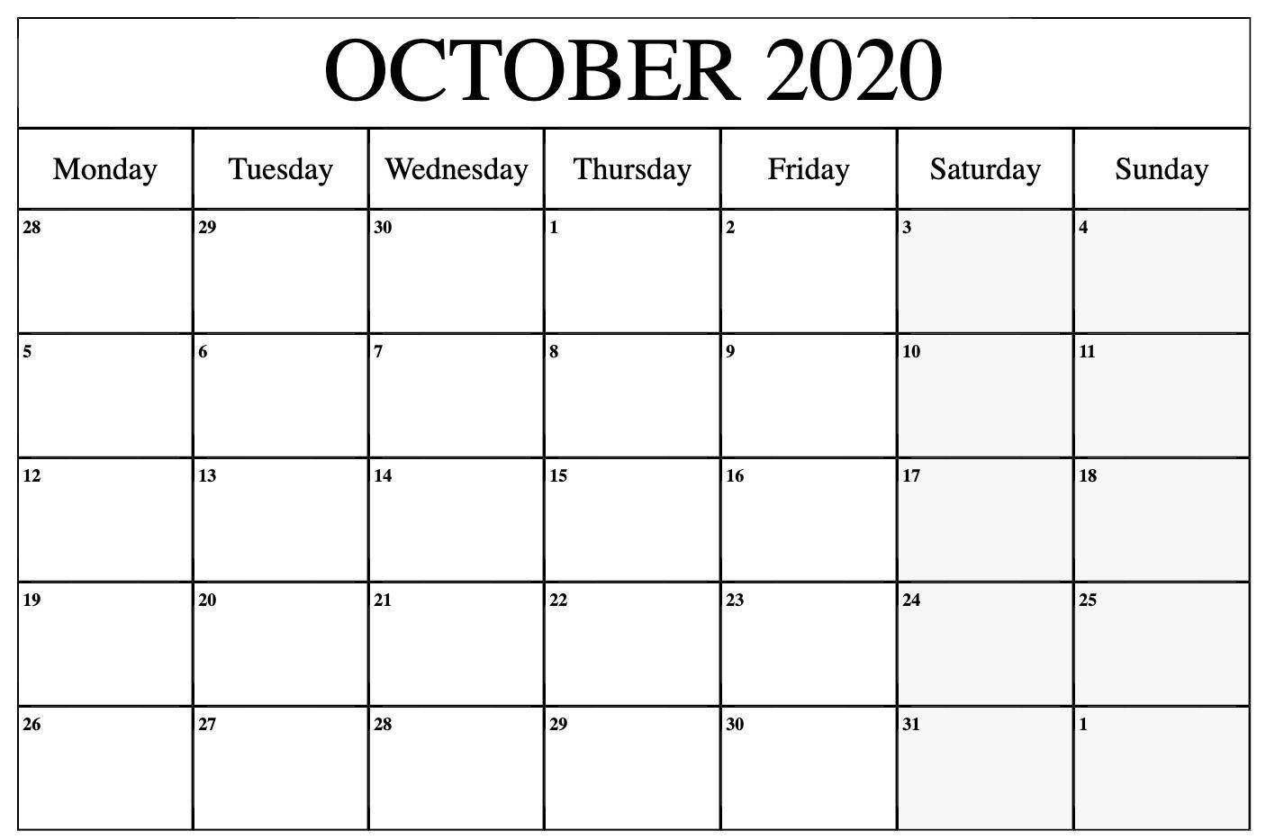 October 2020 Calendar Pdf, Word, Excel Template   Calendar