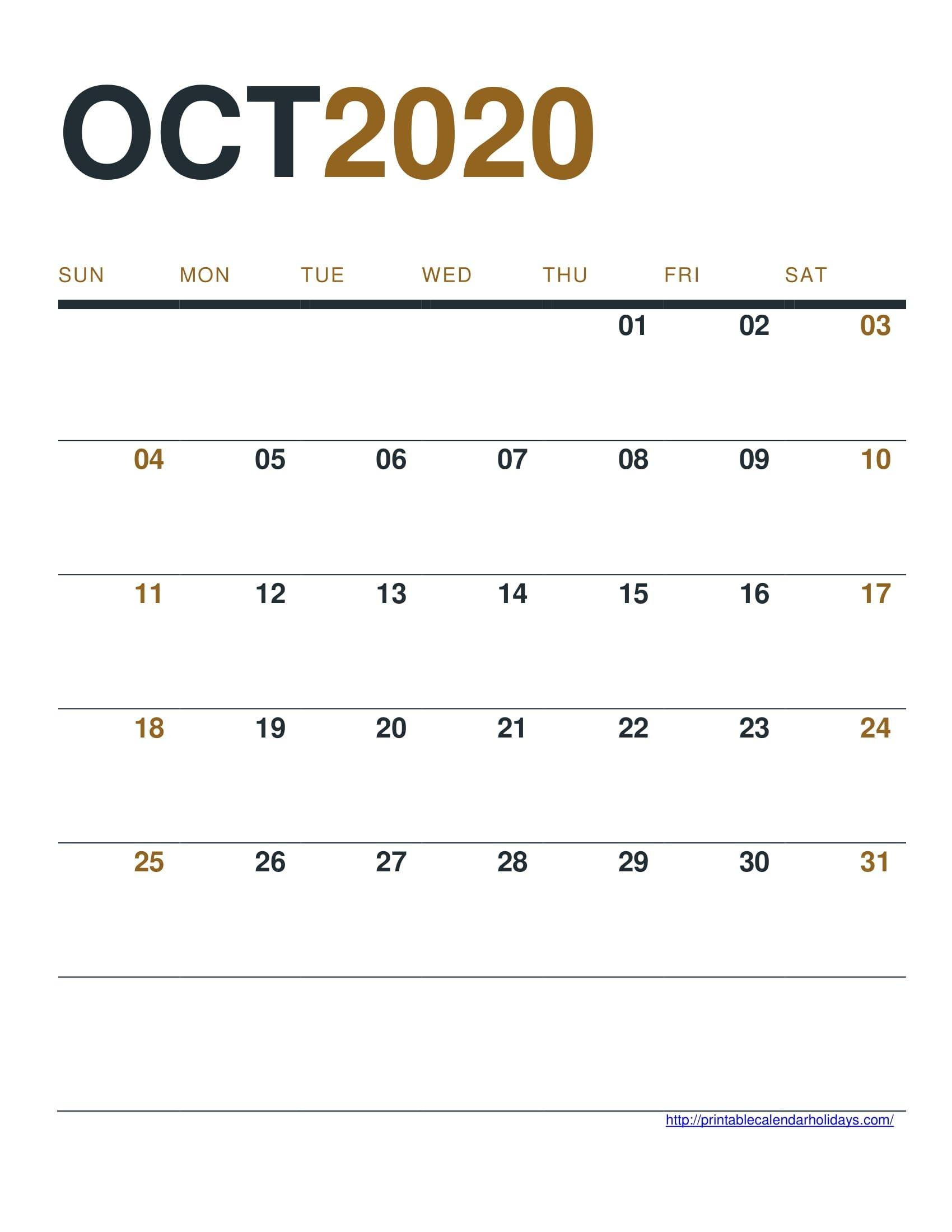 October 2020 Calendar Printable Free - Printable Calendar