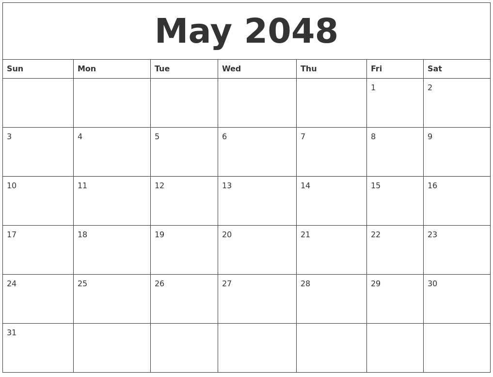 October 2048 Birthday Calendar Template