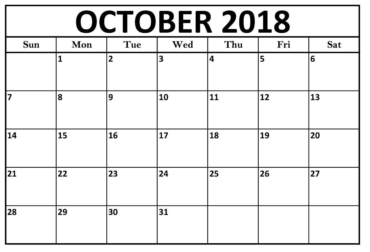 October Calendar 2018 Large Print Template (With Images