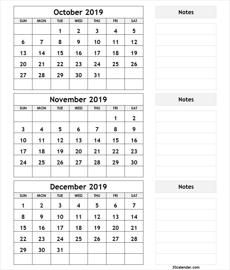 October November December 2019 Calendar | 3 Month Calendar