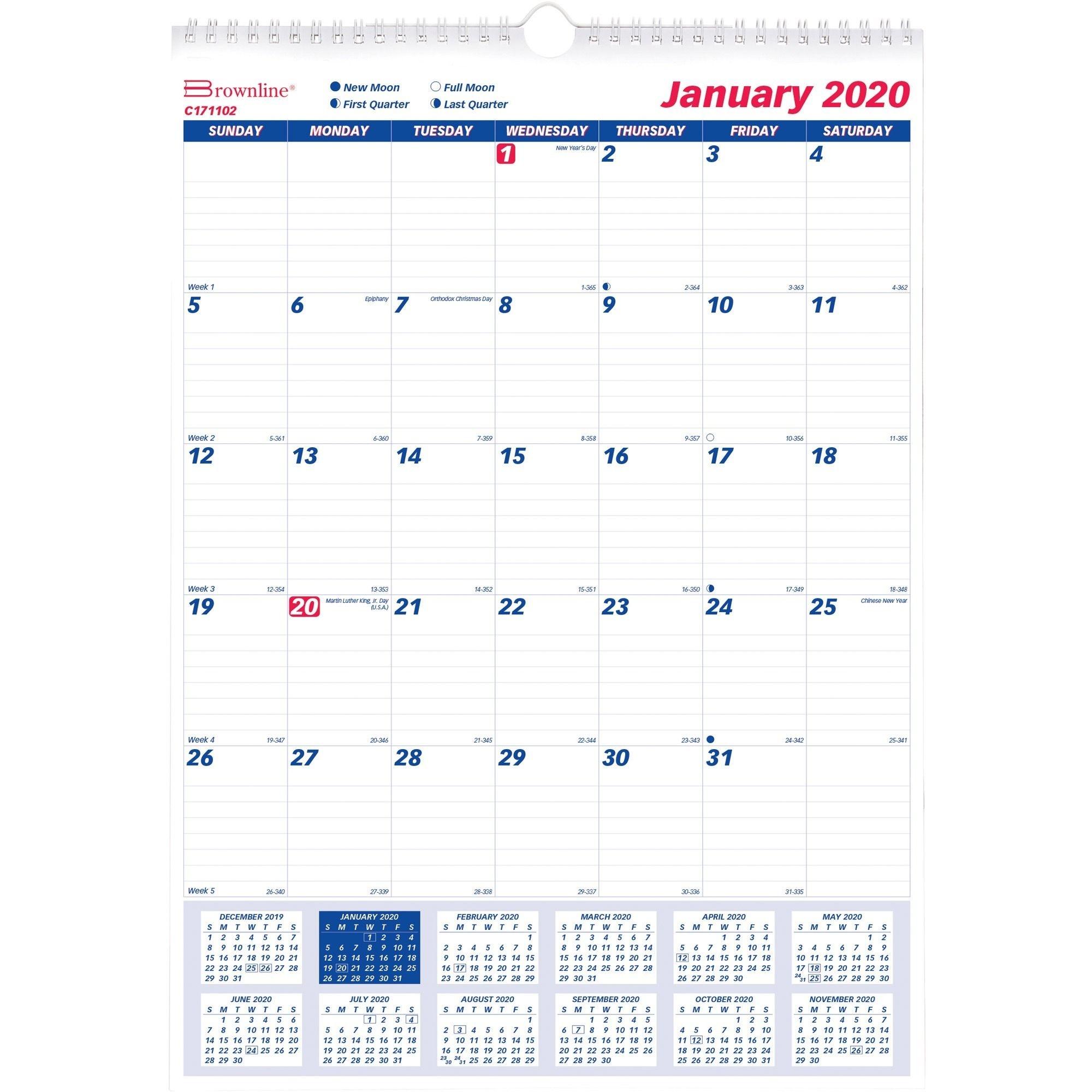 One Month Per Page Twin Wirebound Wall Calendar, 12 X 17, 2020