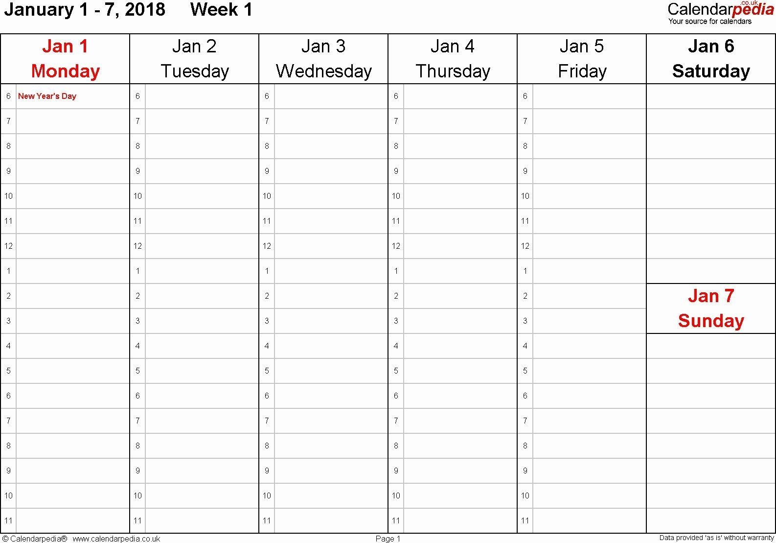 One Week Calendar With Hours In 2020 (With Images
