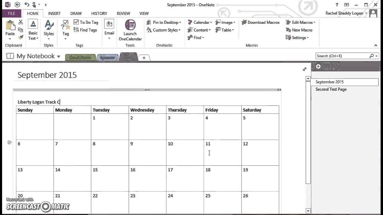 Onenote For Homeschool - Insert Monthly Calendar