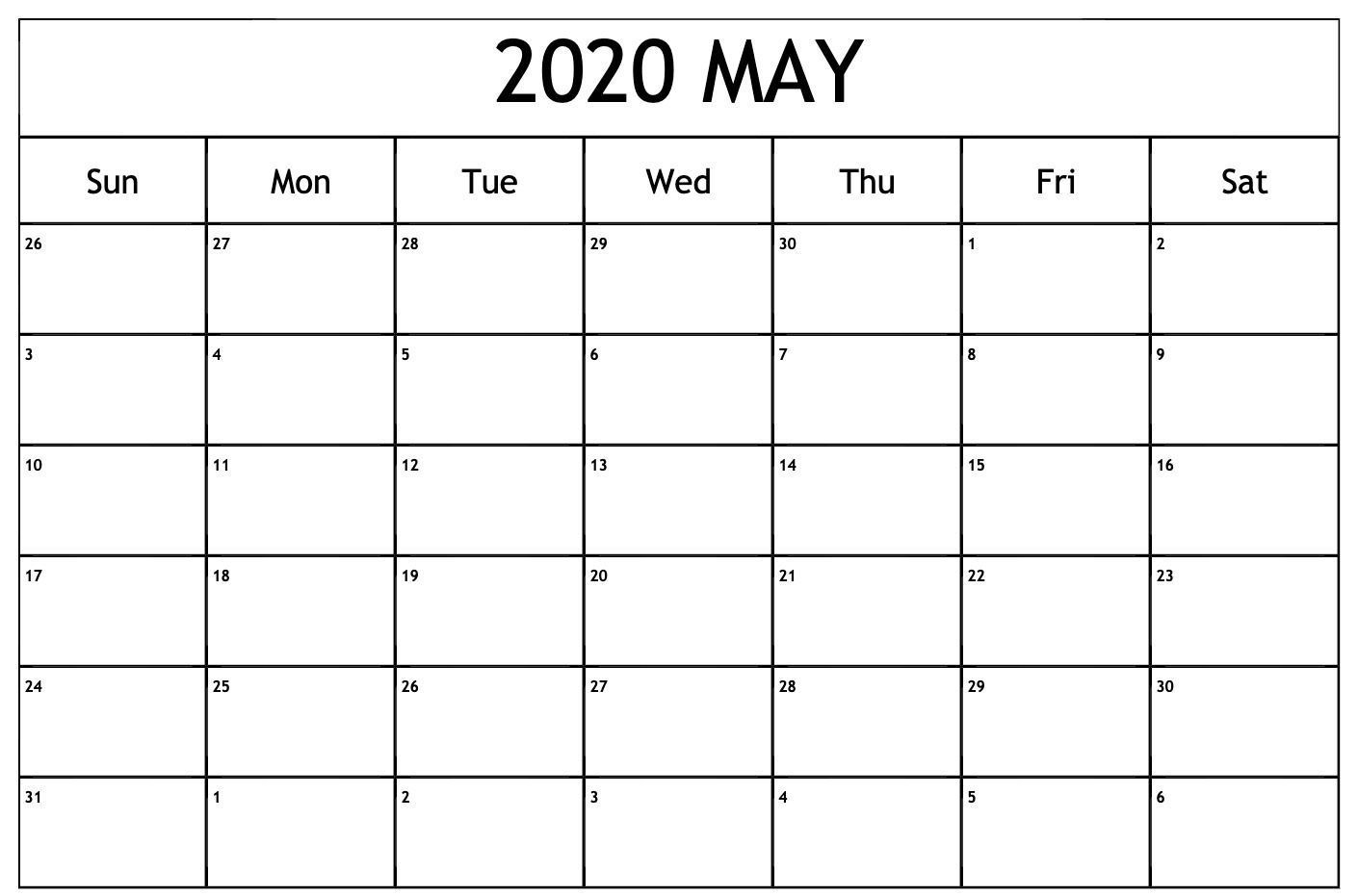 Online May 2020 Calendar Blank Printable Template - Pdf