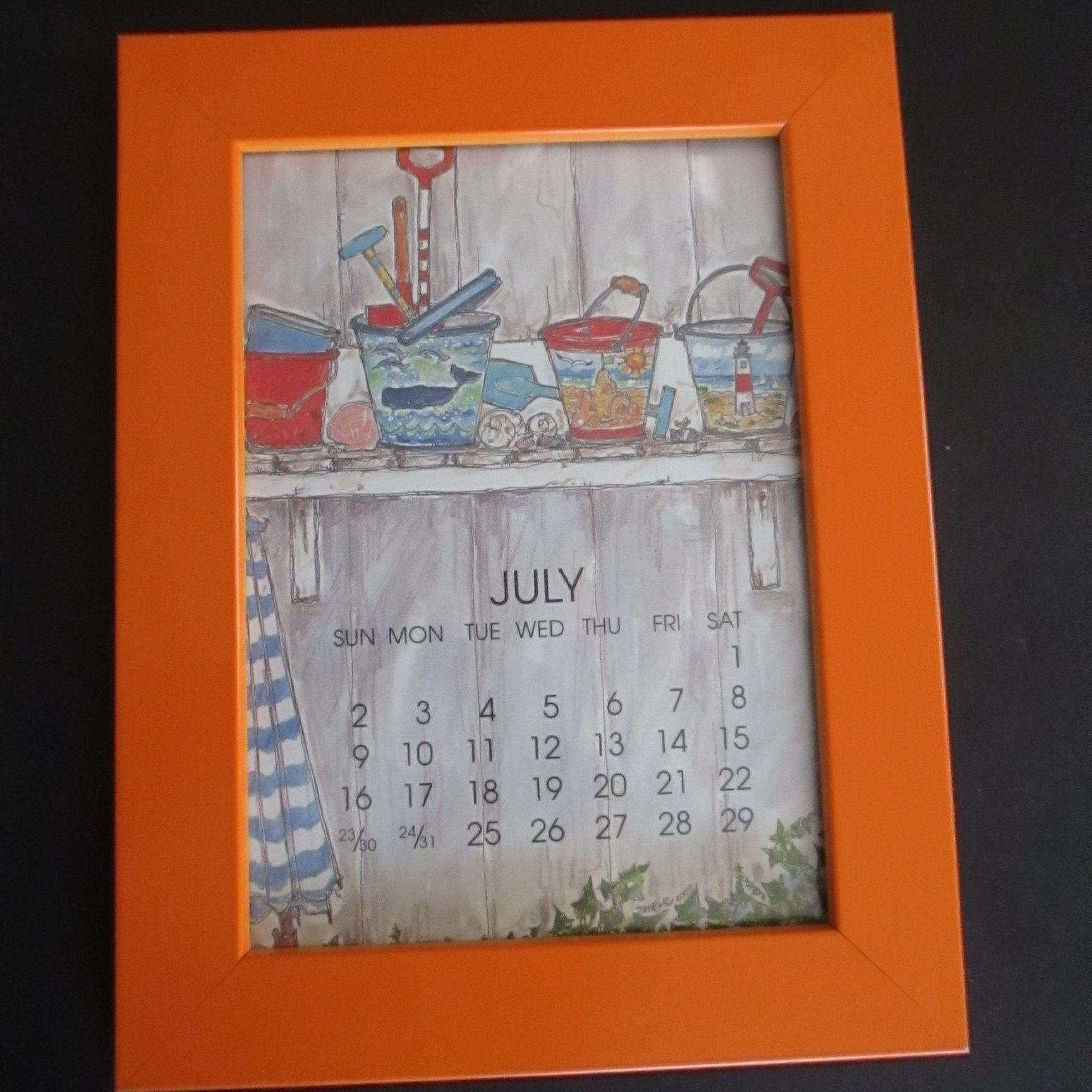 Orange Wood Frame 12 Monthly Calendar Art Prints Susan
