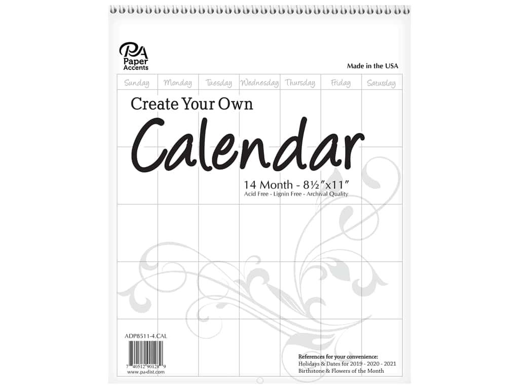 Paper Accents Calendar Create Your Own 8 1/2 X 11 In. 14 Month Blank White 1