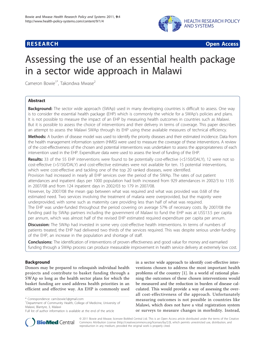 Pdf) Assessing The Use Of An Essential Health Package In A