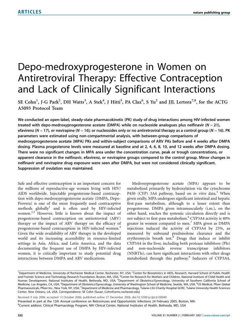 Pdf) Depo-Medroxyprogesterone In Women On Antiretroviral