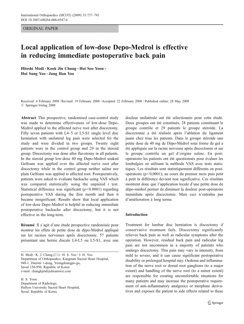 Pdf) Local Application Of Low-Dose Depo-Medrol Is Effective