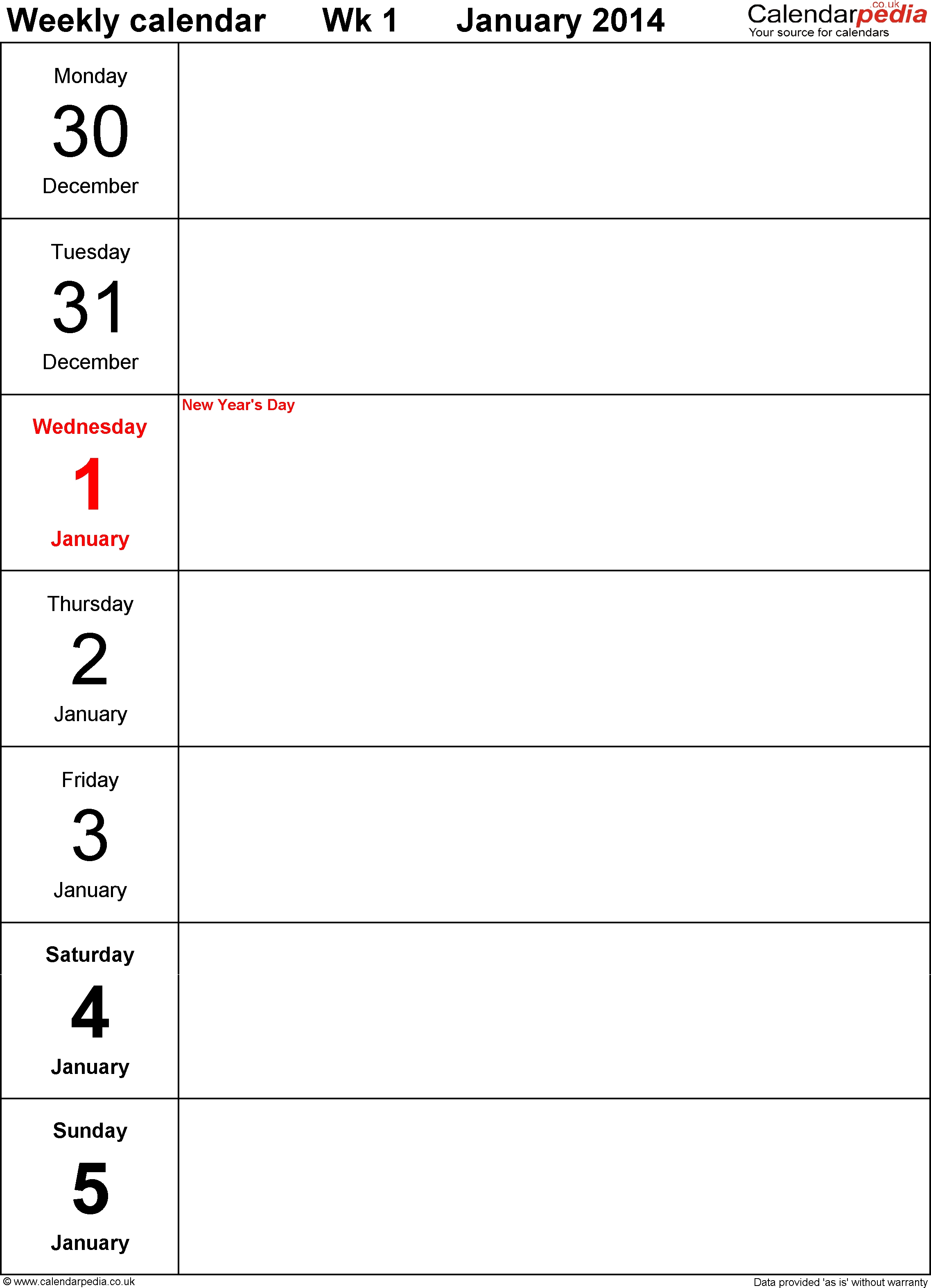 Pdf Template 4: Weekly Calendar 2014, Portrait Orientation
