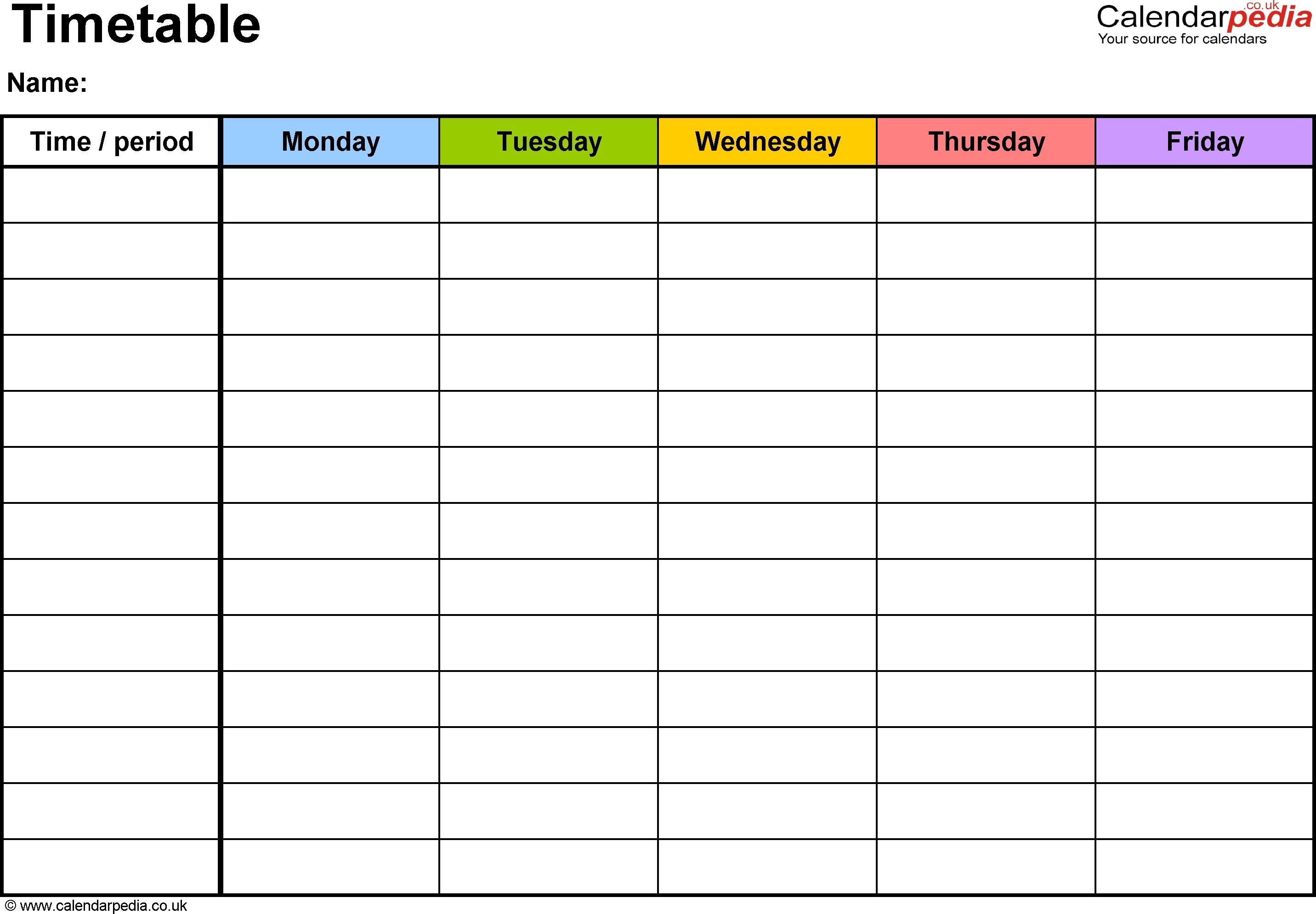 Pdf Timetable Template 2: Landscape Format, A4, 1 Page