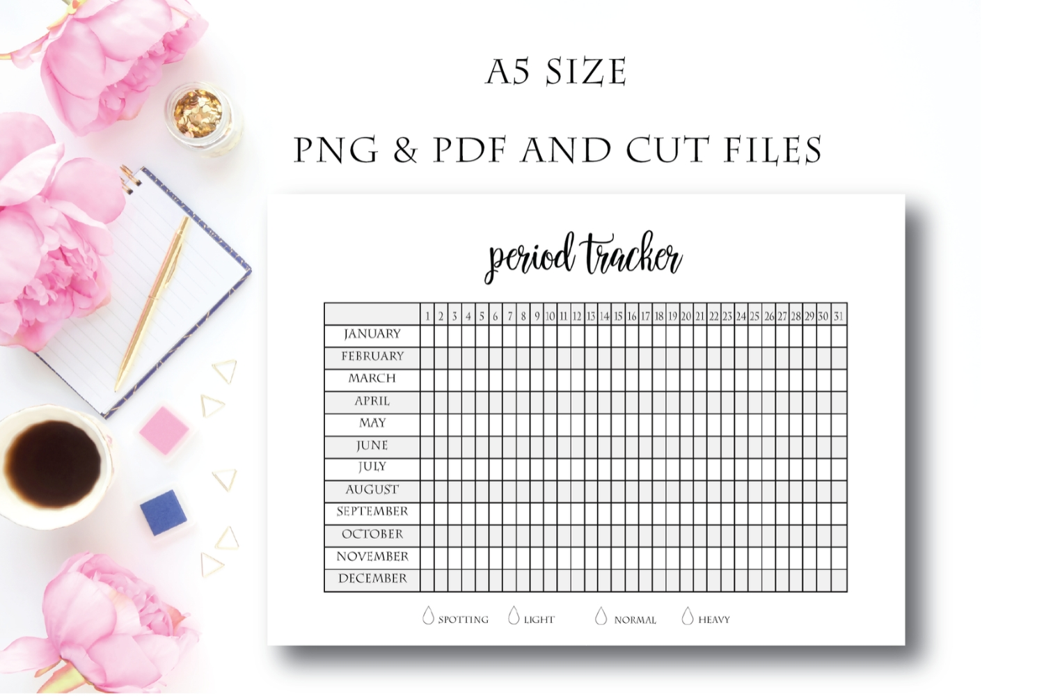 Period Tracker, Period Planner, Menstrual Cycle, Printable P