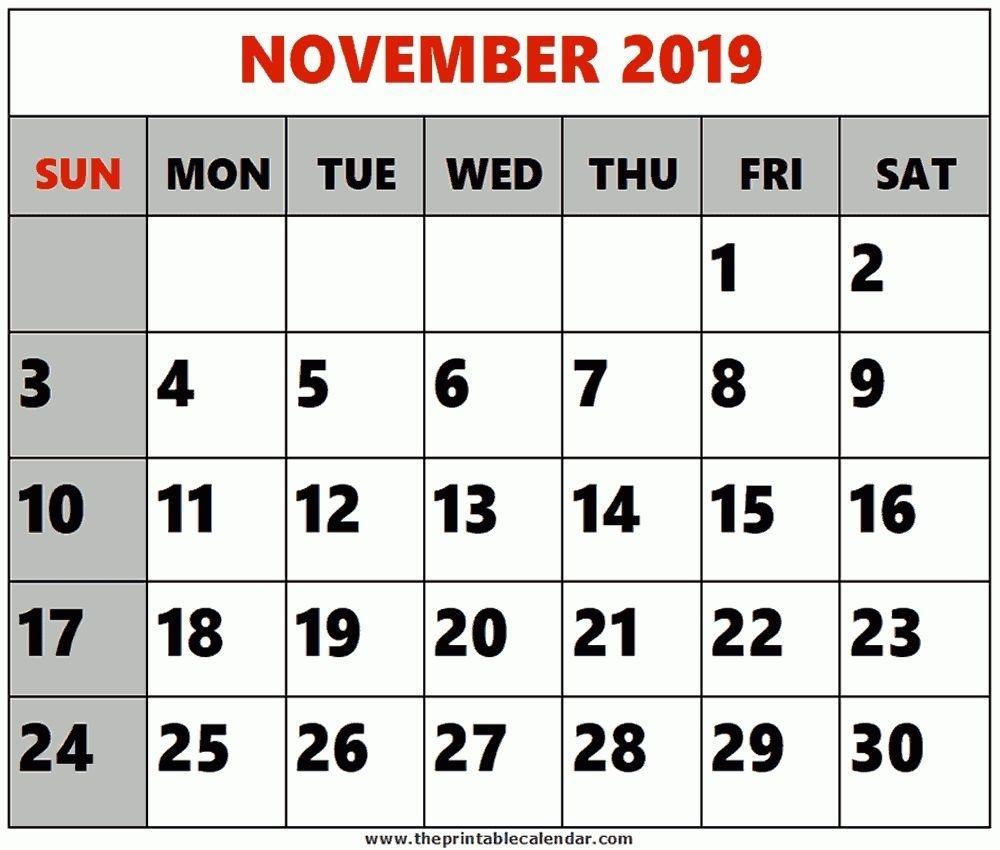Pick 8 X 11 Printable Calendar November2019 | Printable