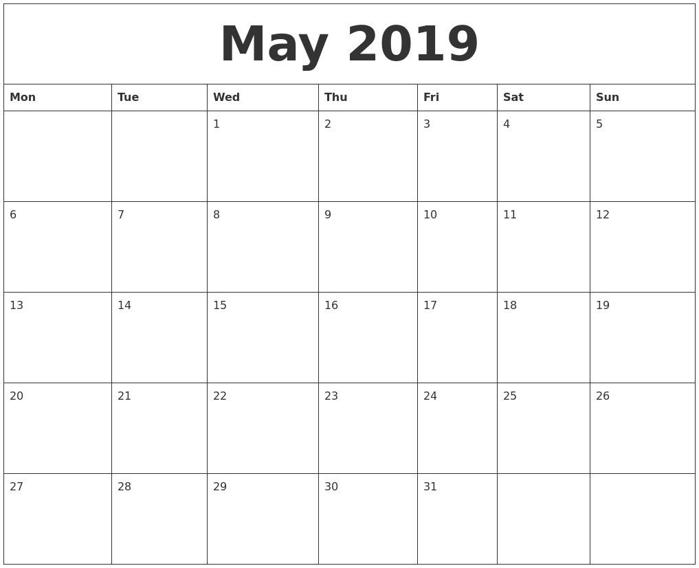 Pick Blank Monthly Calendar Sheets 2019 | Blank Monthly