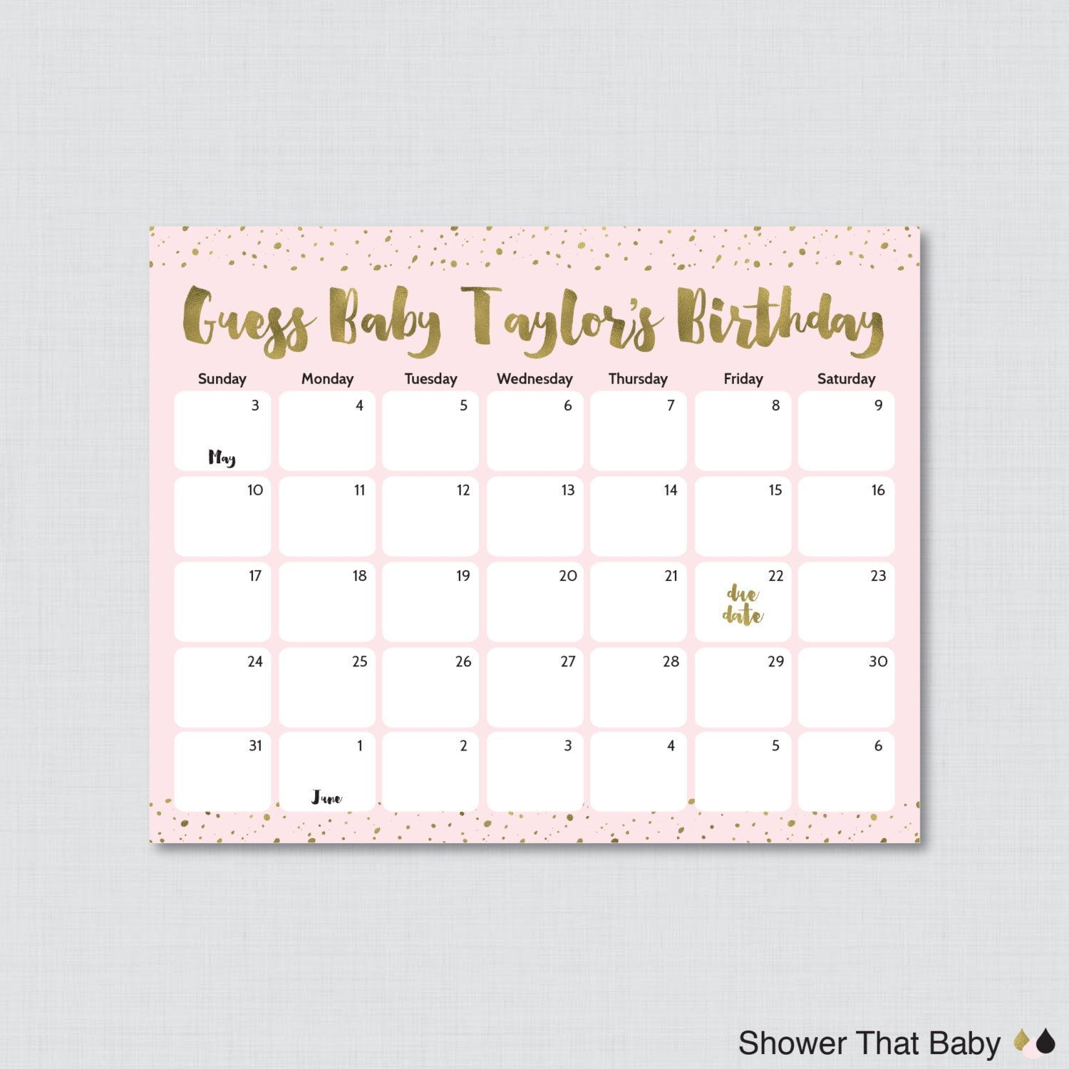 Pink And Gold Baby Shower Birthday Predictions - Printable