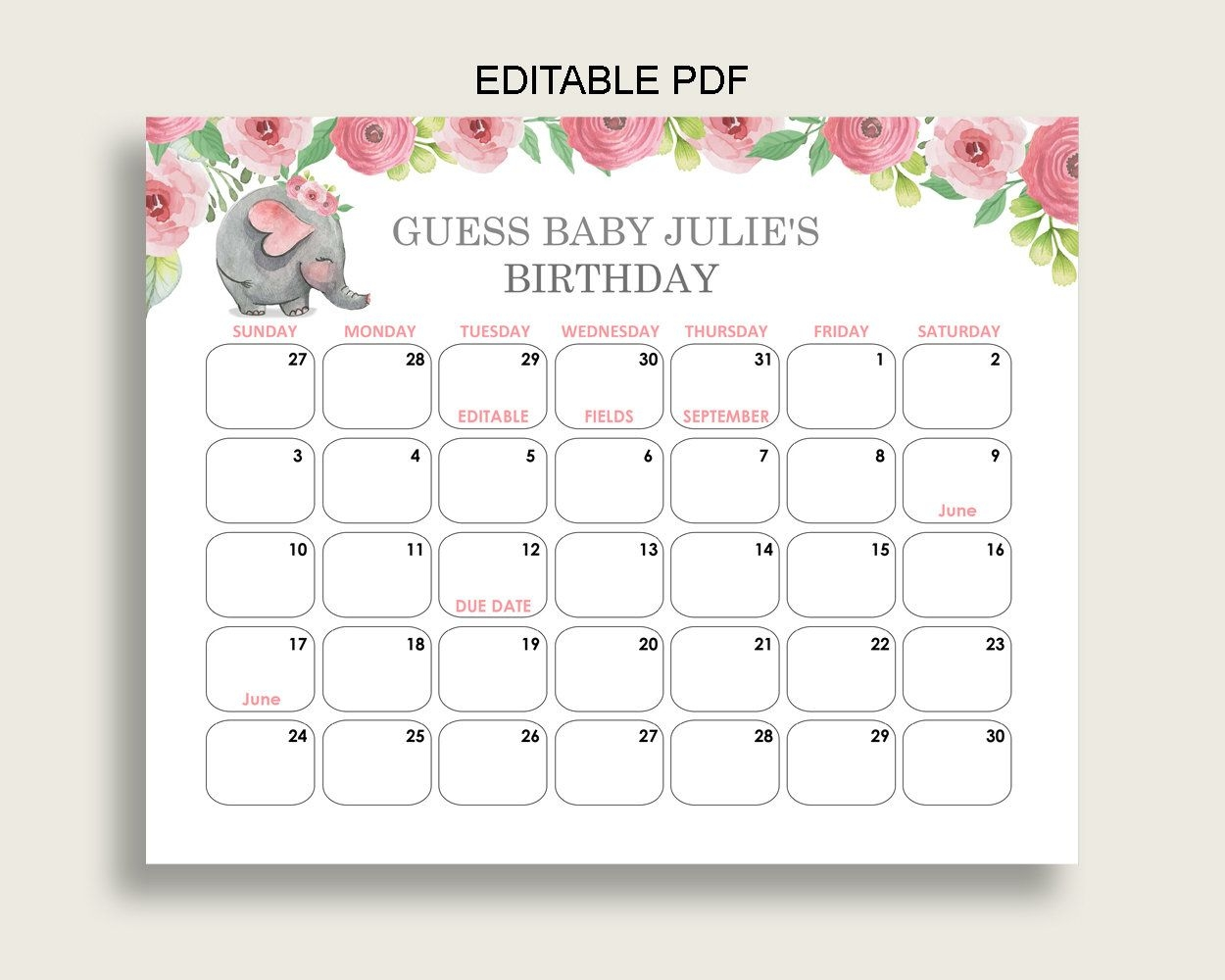 Pink Grey Guess Baby Due Date Calendar Game Printable, Pink Elephant Baby  Shower Girl Birthday Prediction Calendar Editable, Instant Ep001