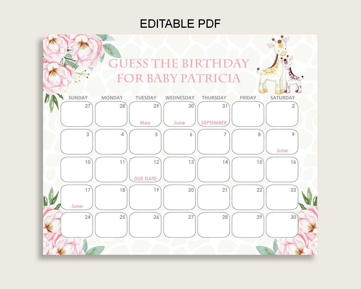 Pink Yellow Guess Baby Due Date Calendar Game Printable, Giraffe Baby  Shower Girl Birthday Prediction Calendar Editable, Instant Sa001