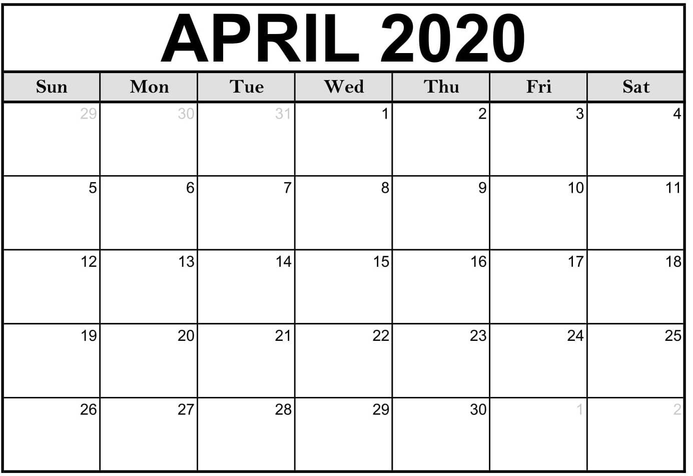 Print Calendar For April 2020 Monthly Fillable Sheets - Set