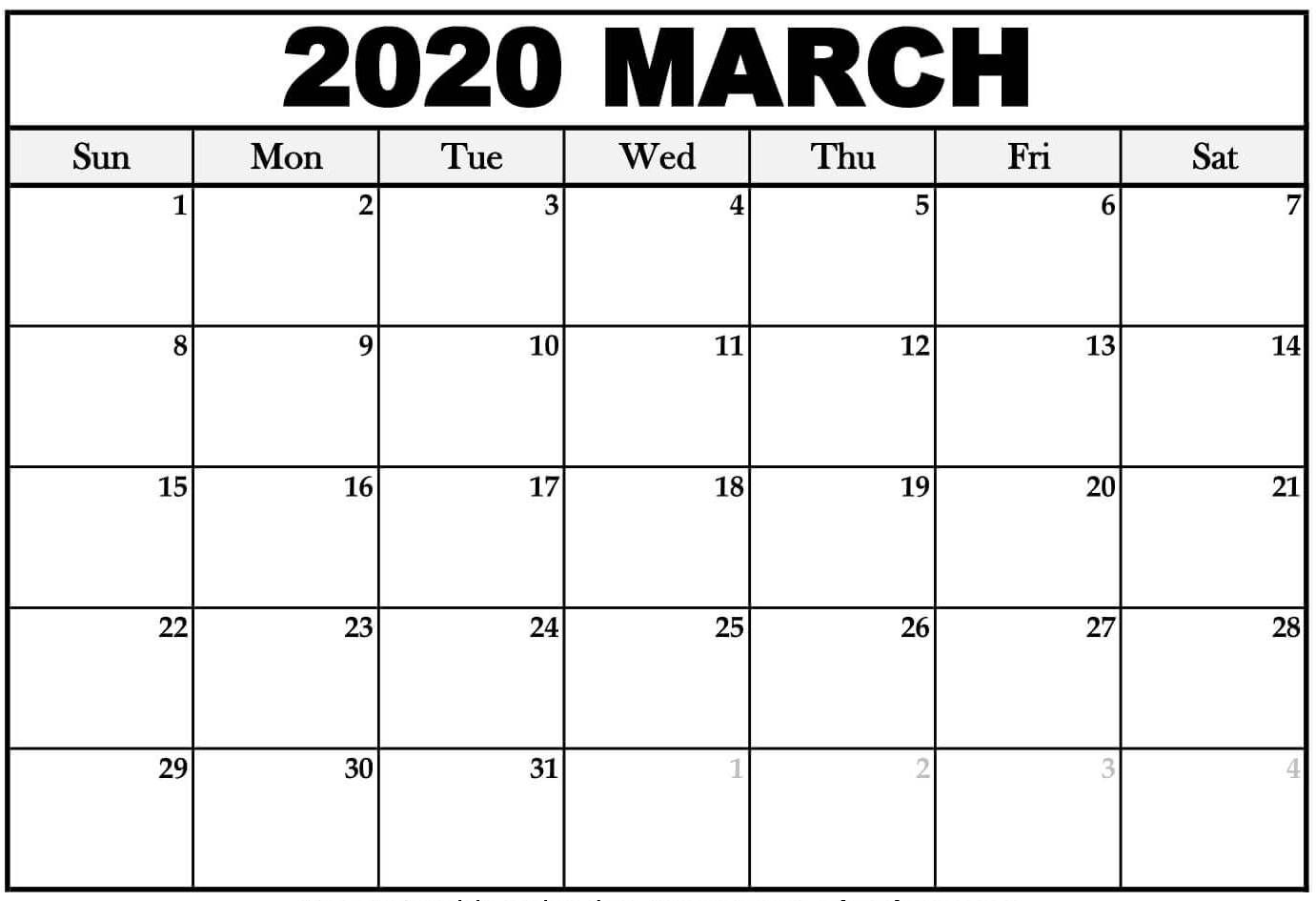 Print Calendar For March 2020 Monthly Fillable Sheets - Set