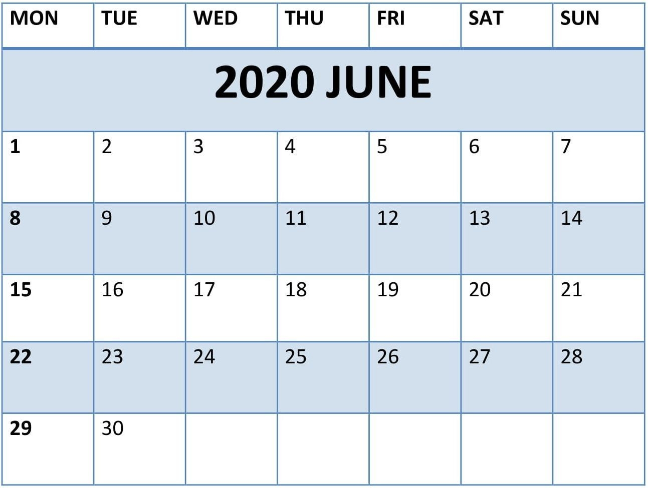 Print June Calendar 2020 Free Blank Editable Template - Pdf