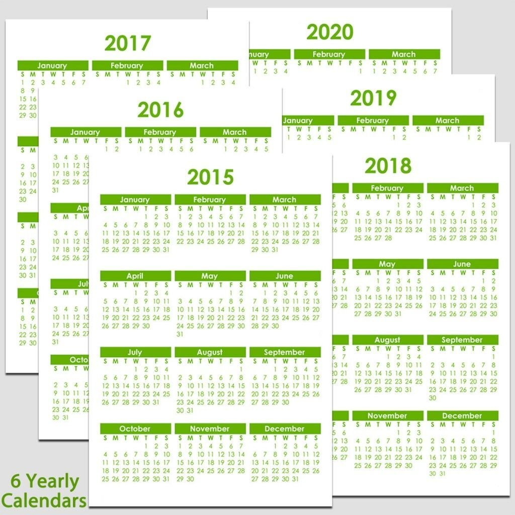Printable 2015 To 2020 Yearly Calendar – 8 1/2″ X 11″. The