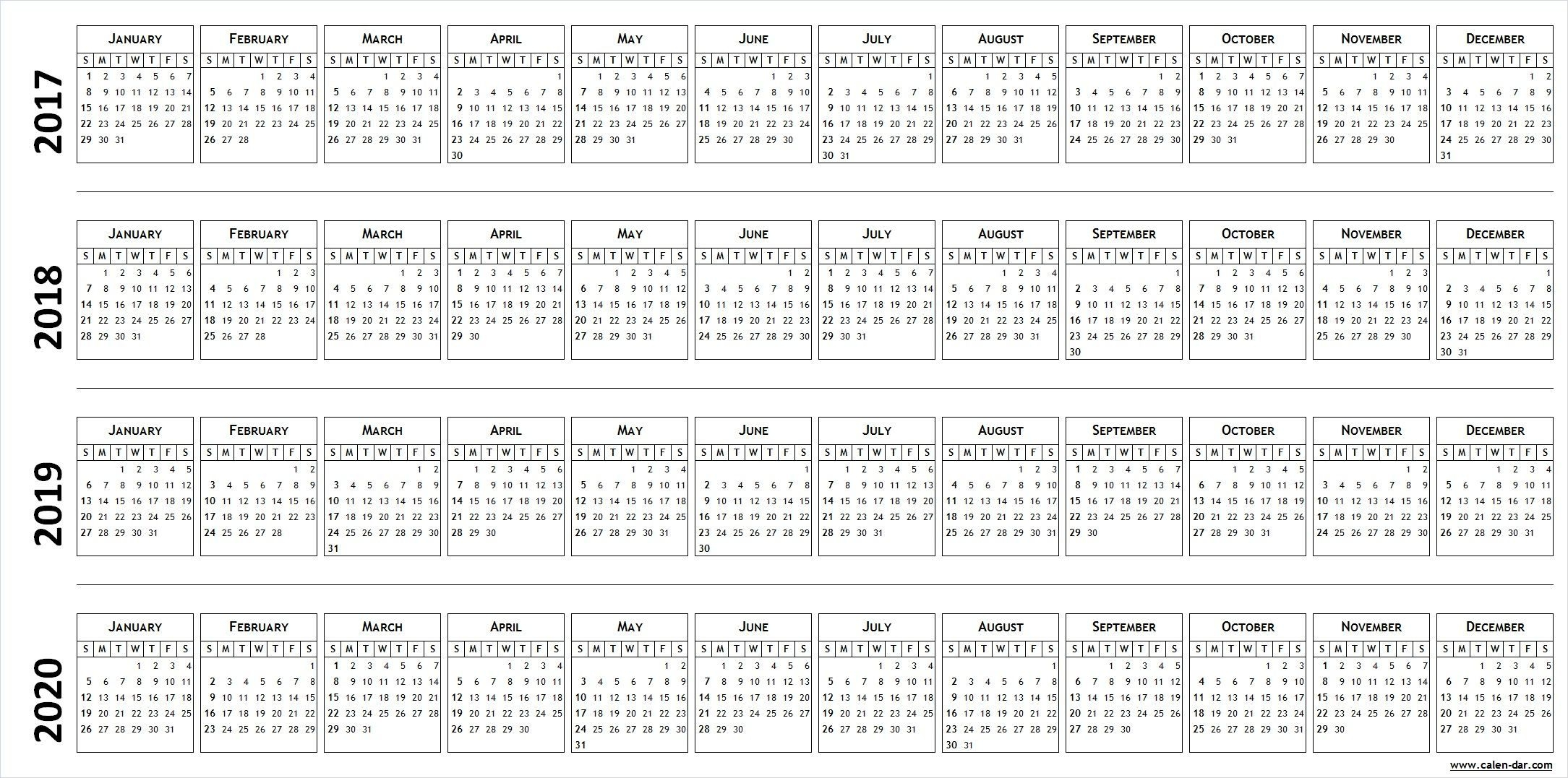 Printable 2017 2018 2019 2020 Calendar Template (With Images