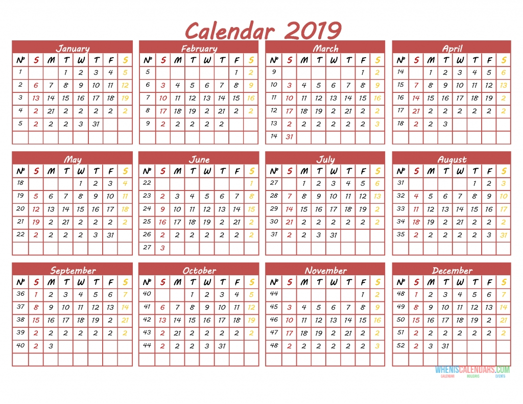 Printable 2019 12 Month Calendar Template Pdf, Word, Excel