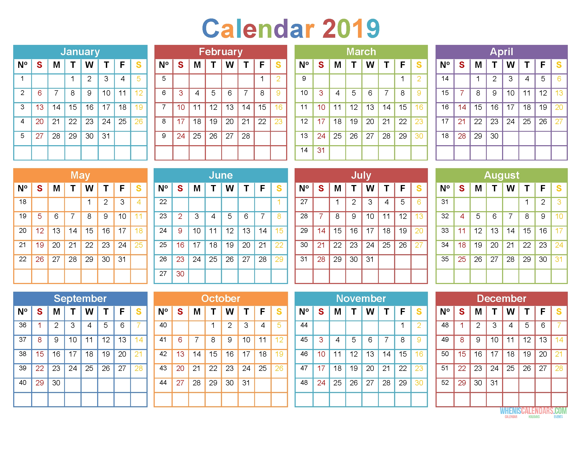 Printable 2019 12 Month Calendar Template Word, Pdf [ Us