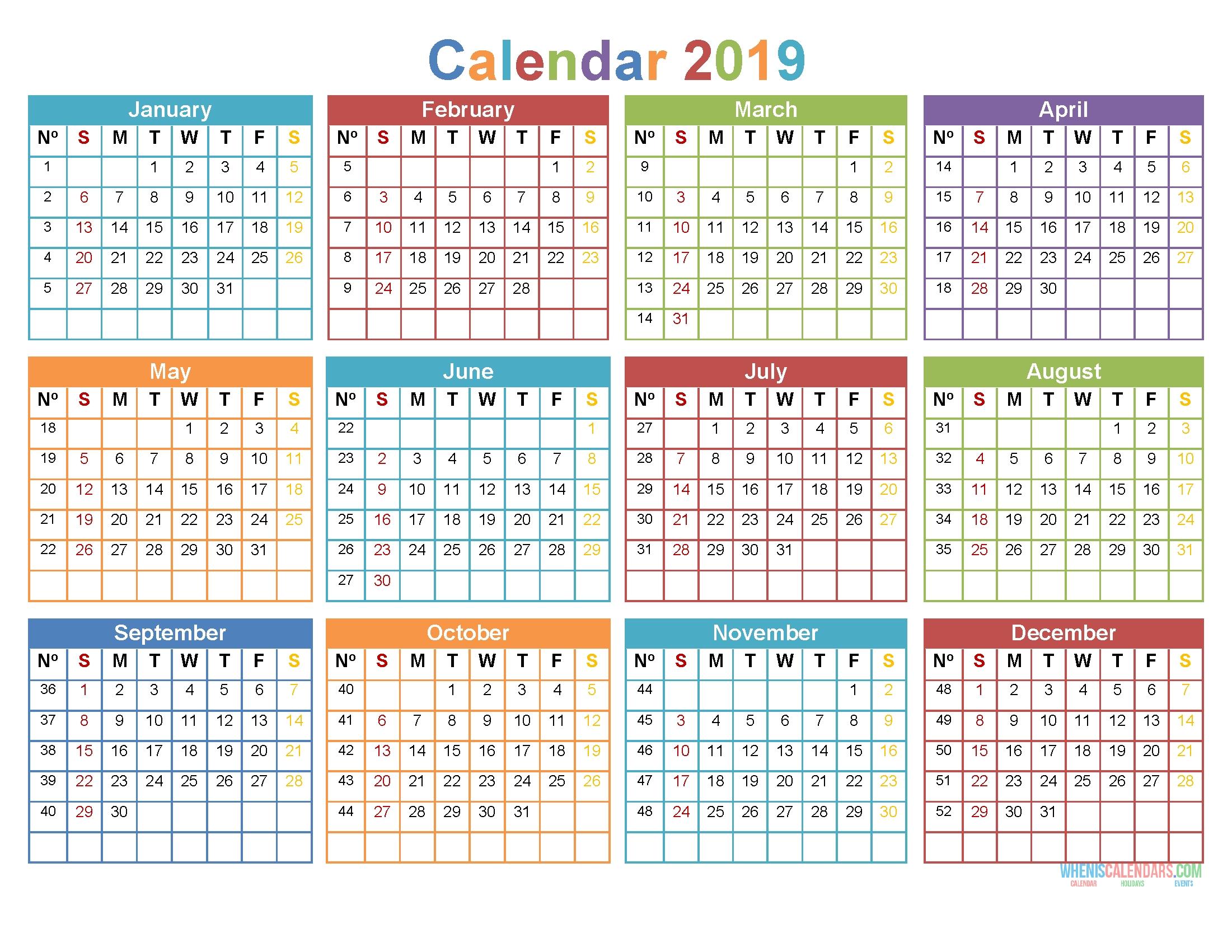 Printable 2019 12 Month Calendar Template Word, Pdf [ Us