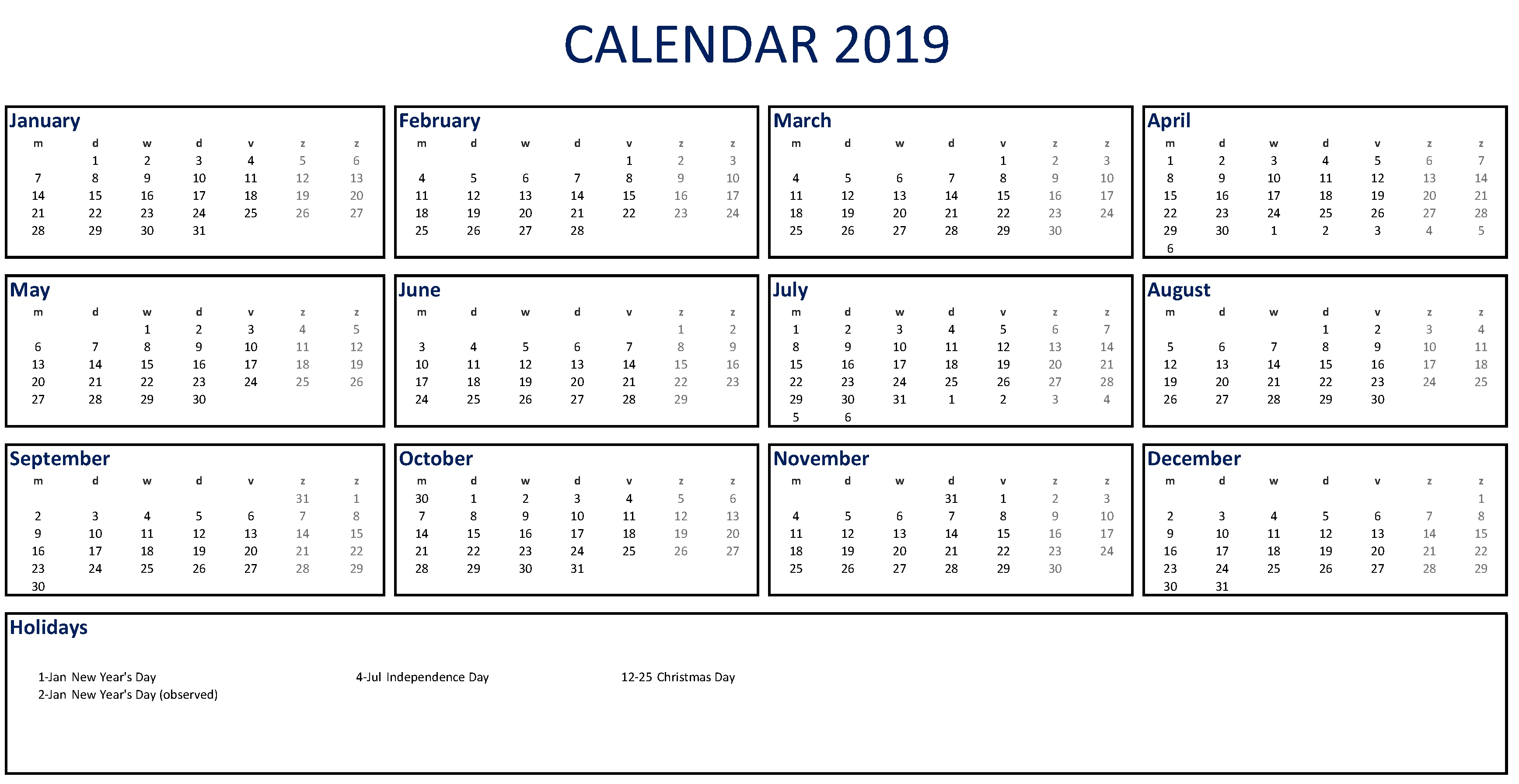 Printable 2019 Calendar Excel | Templates At