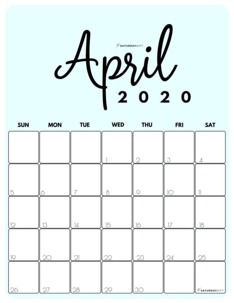 Printable 2020 Calendar By Month In 3 Cute Colors | Saturdaygift