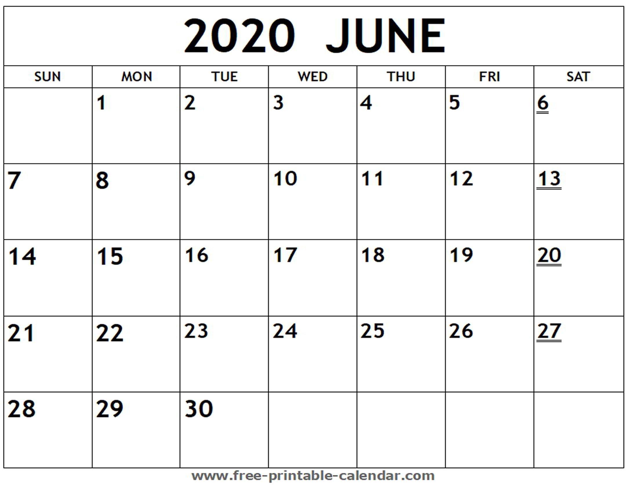 Printable 2020 June Calendar - Free-Printable-Calendar