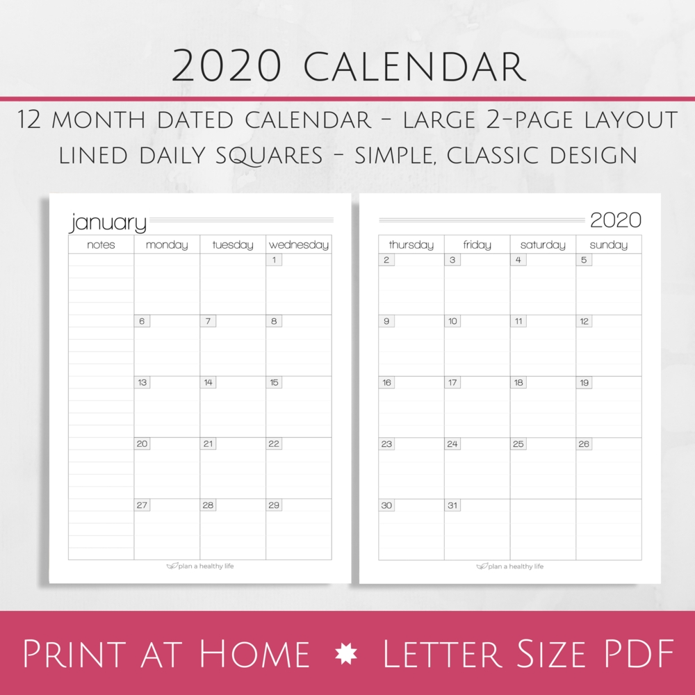 Printable 2020 Monthly Calendar - Large 2-Page Layout — Plan A Healthy Life