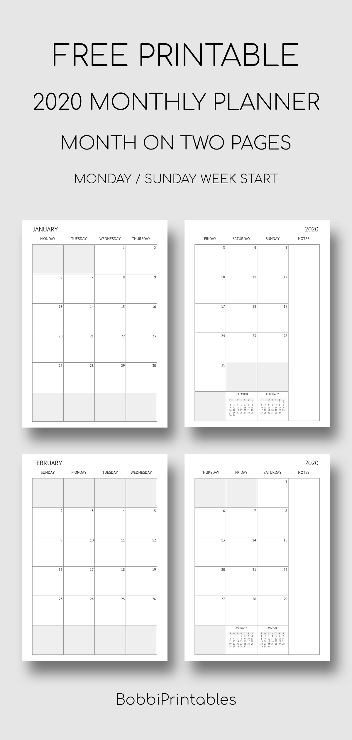 Printable 2020 Monthly Planner - Month On Two Pages In 2020
