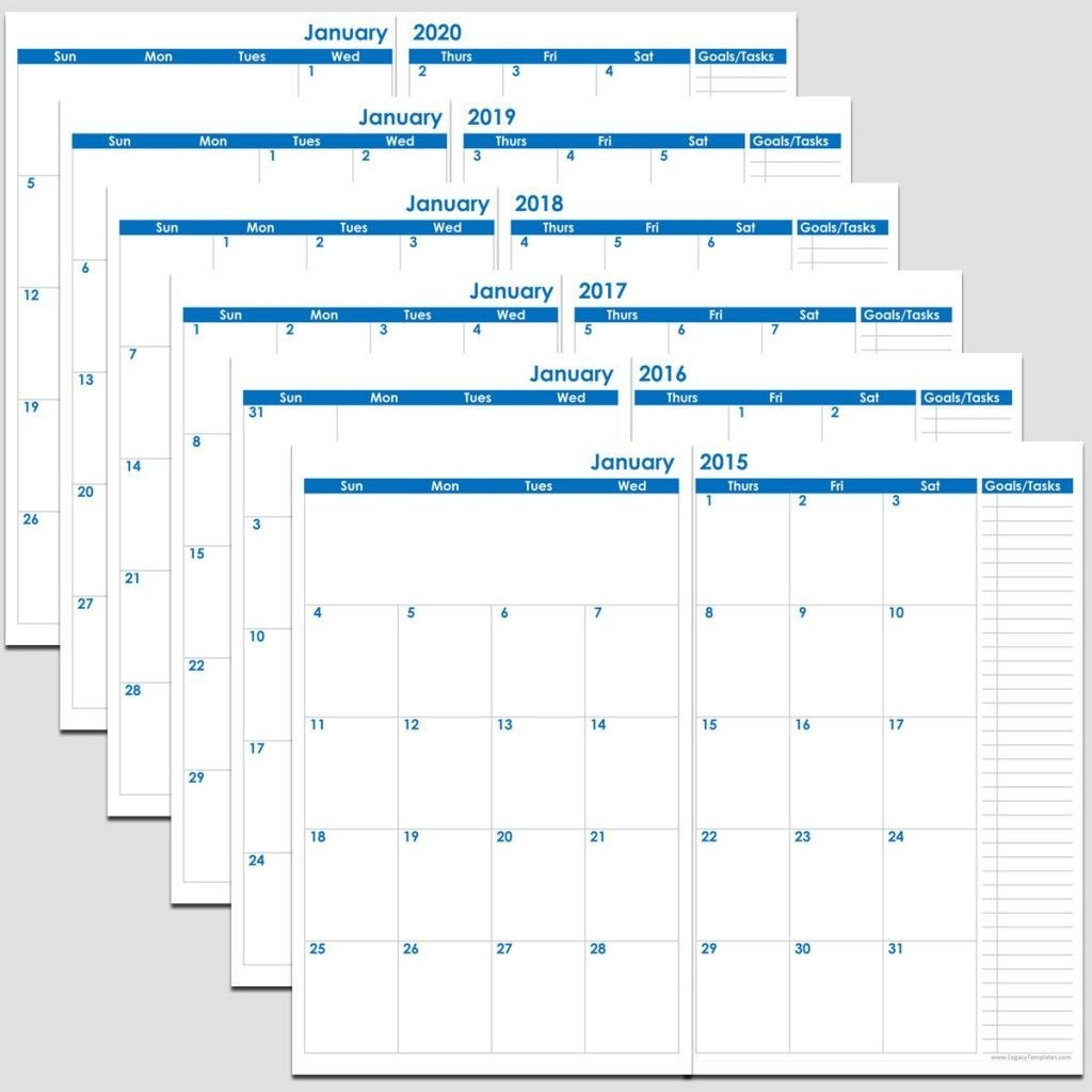 Printable 72-Months 2-Page Calendar – 2015-2020 – 5 1/2″ X 8