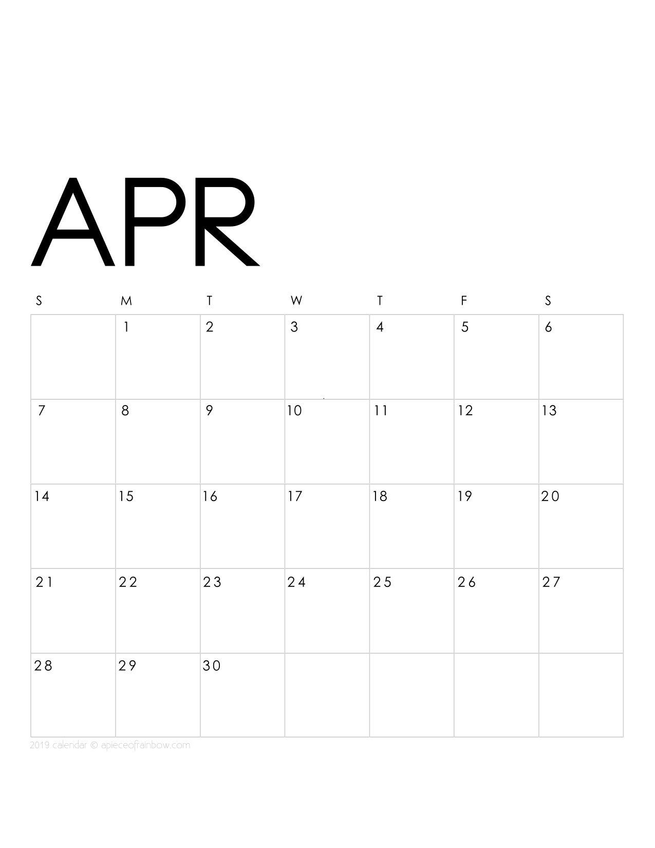 Printable April 2019 Calendar Monthly Planner {2 Designs