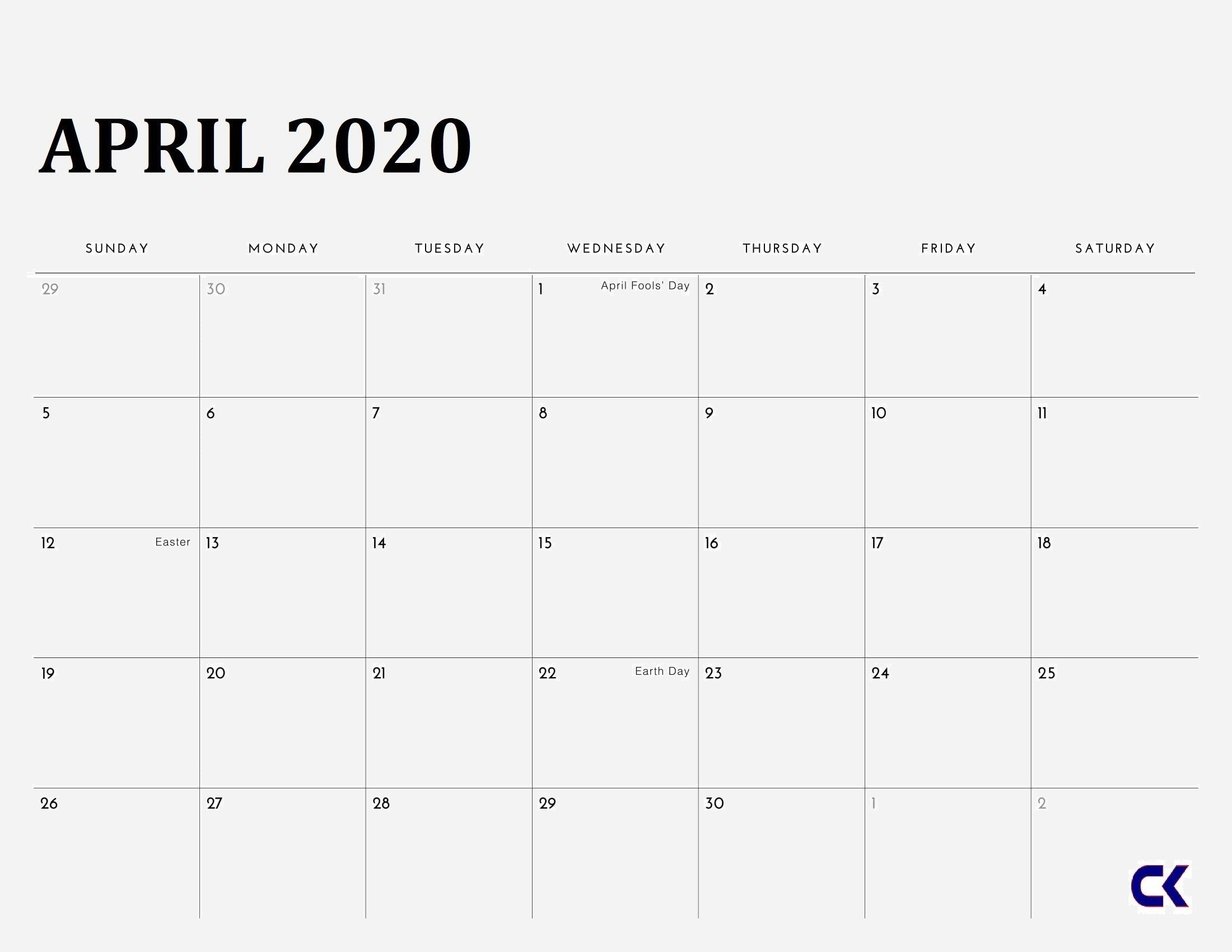 Printable April 2020 Calendar » Calendarkart