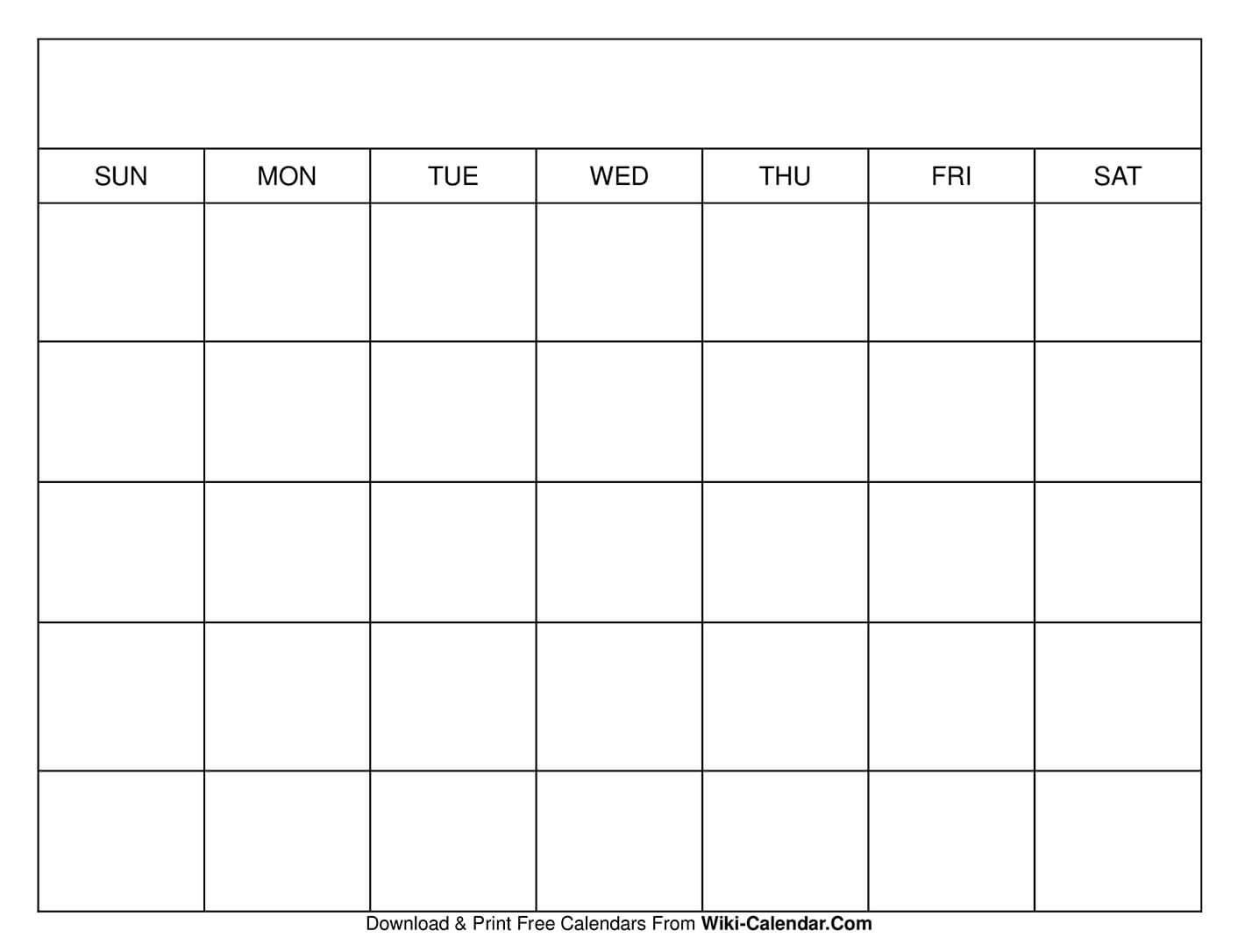 Printable Blank Calendar Templates