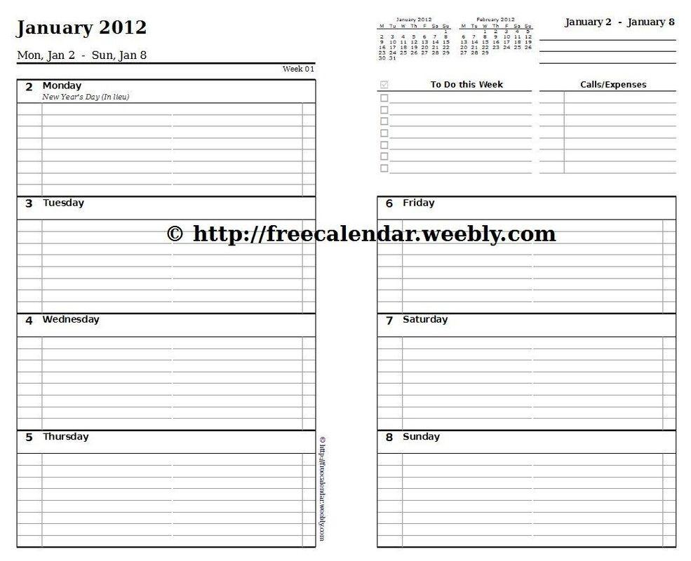 Printable Calendar 2012 - Free Printable Calendars