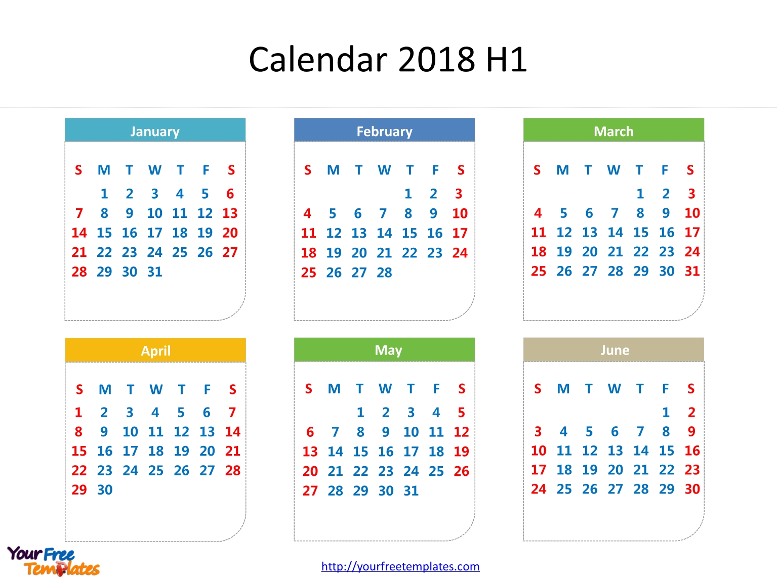 Printable Calendar 2018 - Free Powerpoint Templates