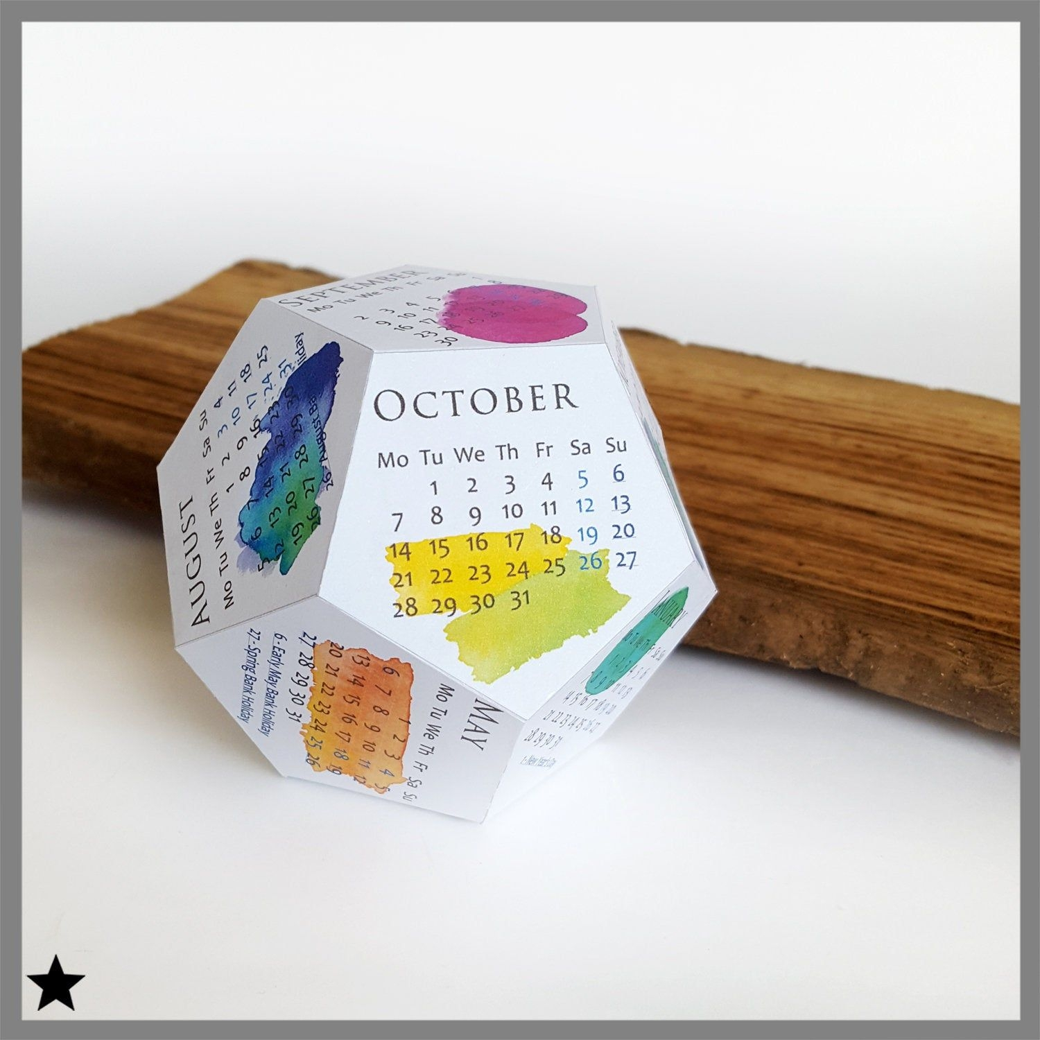 Printable Calendar 2019, Watercolor Desk Calendar, 3D Papercraft Block,  Cubicle Accessory, Coworker Gift, Diy Box Calendar, Printable Pdf