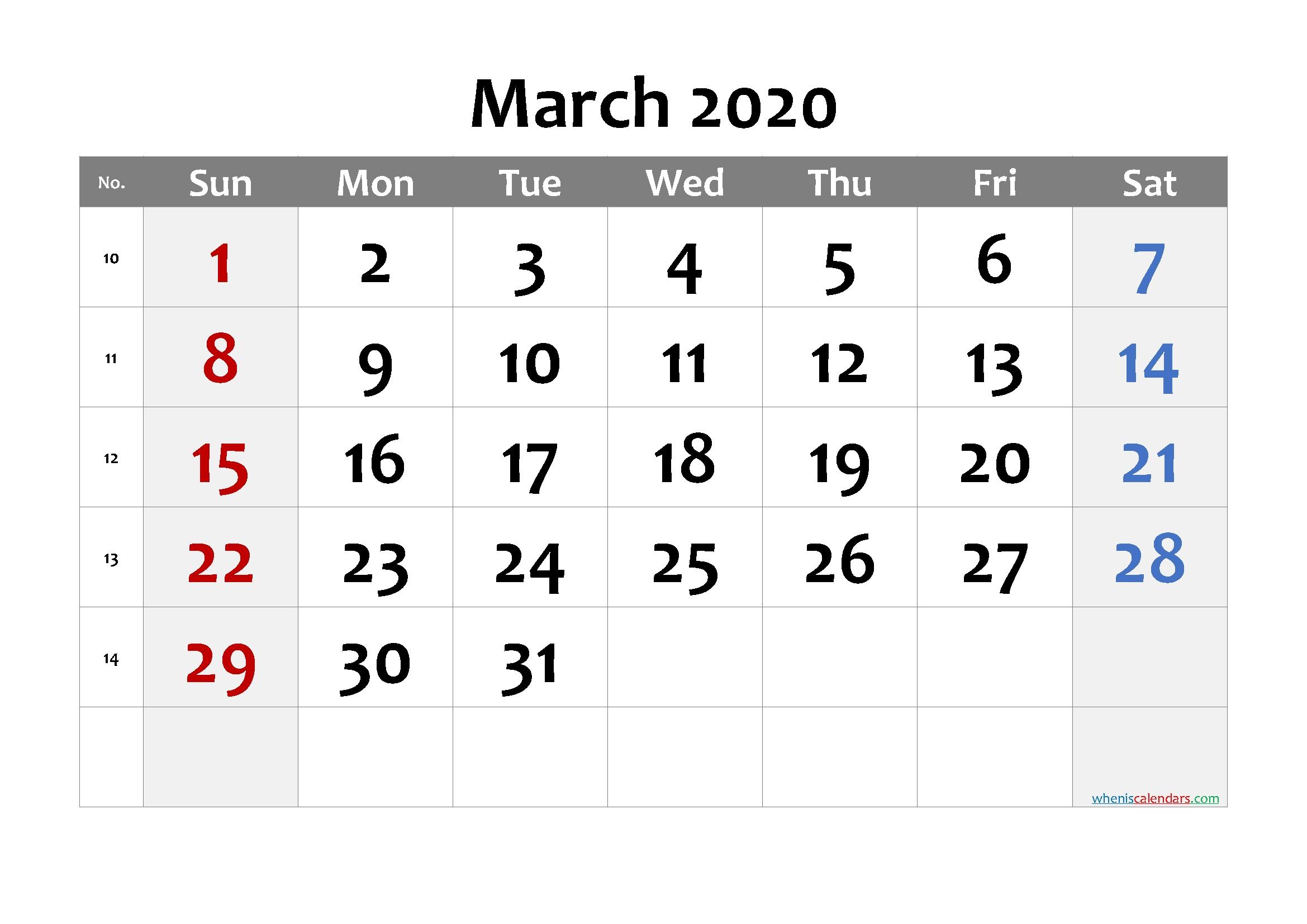 Printable Calendar March 2020 - 6 Templates   Free Printable